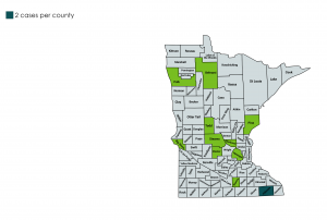 2018 West Nile Virus count map by county