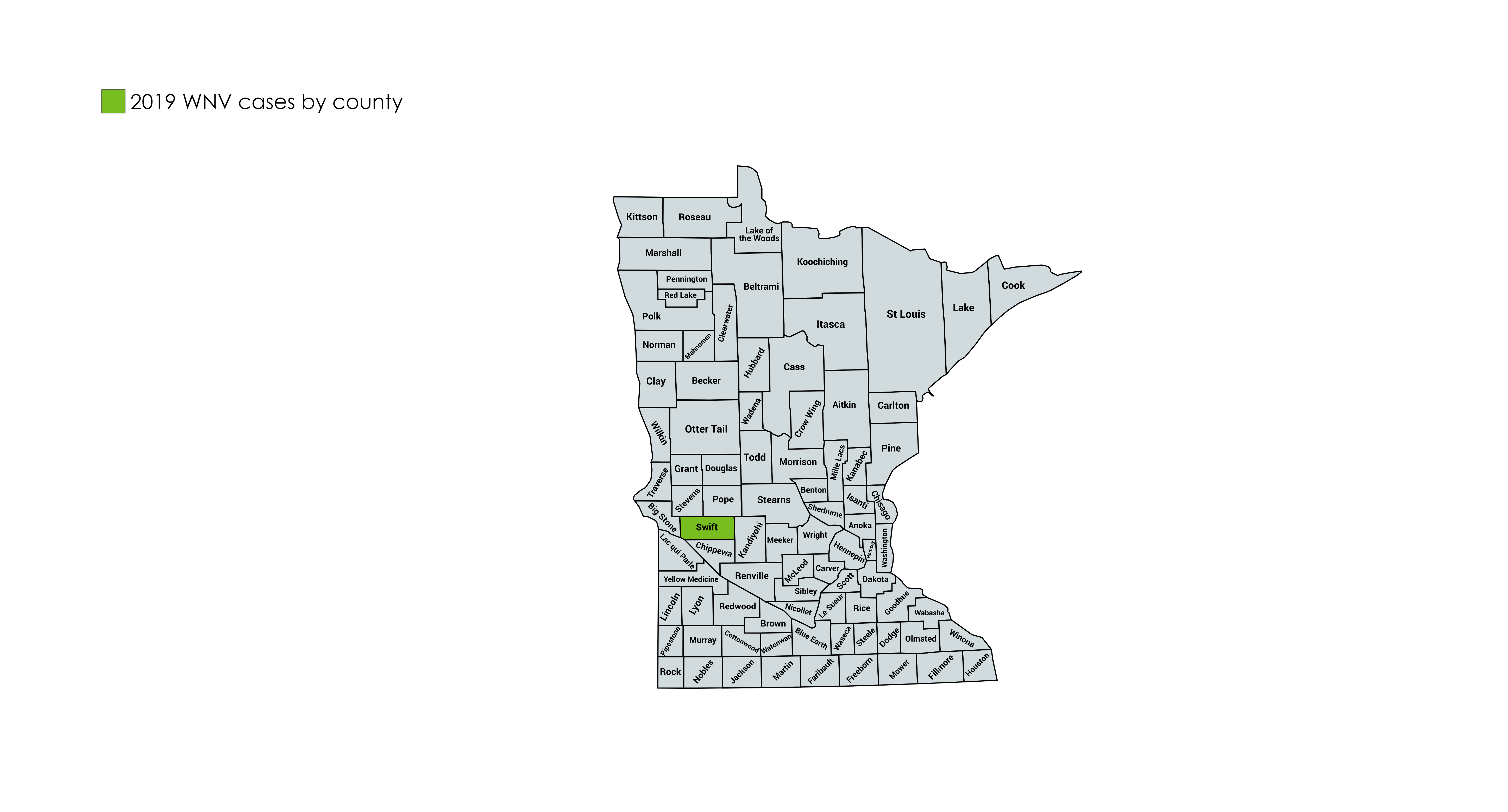 Map of Minnesota Counties with West Nile Virus cases in 2019. One case in Swift County.