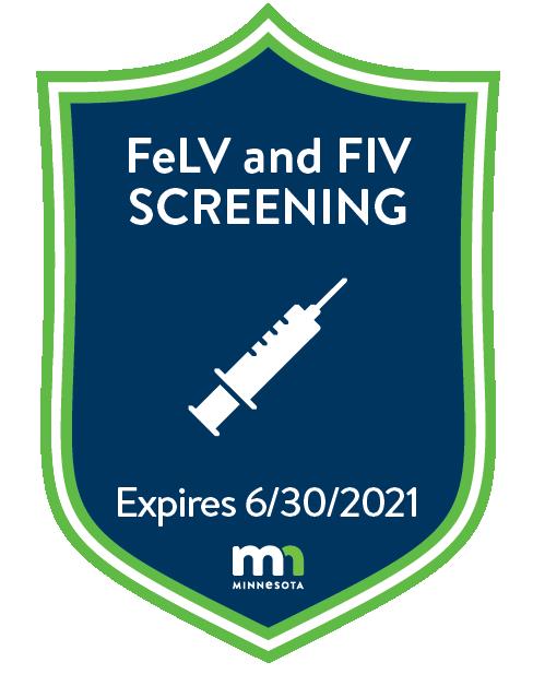 Feline leukemia and feline immunodeficiency Screening badge