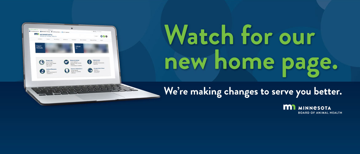 "Laptop showing new home page layout and text,""Watch for our new home page. We're making changes to serve you better."""""